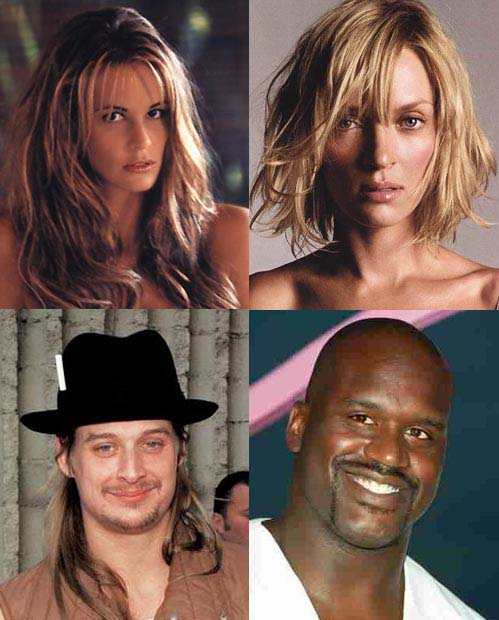 Other people with your face shape include Shaquille O'Neal & Kid Rock.