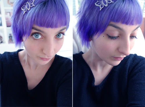 hair with purple underneath. Gala#39;s hair is purple
