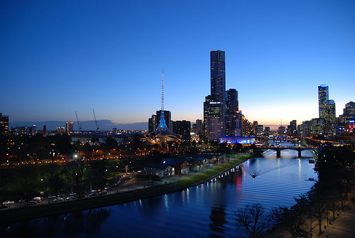 Melbourne from the top of a ferris wheel