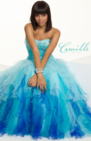 Long Ombre Strapless Tulle Dress by Camille La Vie